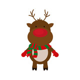 reindeer cartoon merry christmas celebration icon. Isolated and flat illustration. Vector graphic
