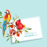 Tropical Flowers, Pomegranates and Parrot Bird Graphic Design.