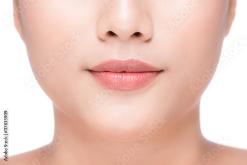 Beautiful Perfect Lips. Sexy Mouth close up. Beauty young asian Poster
