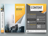 Brochure design template vector.Business flyers report magazine poster layout template.Cover book portfolio presentation orange page curl on a4 poster layout design.City design on brochure background.