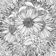 Seamless pattern of black and white sunflowers.