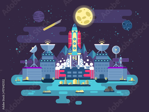 Fototapeta samoprzylepna illustration the facade of the station building and ancillary facilitieswith soaring rocket into space for the expedition research on the background open outer in flat style