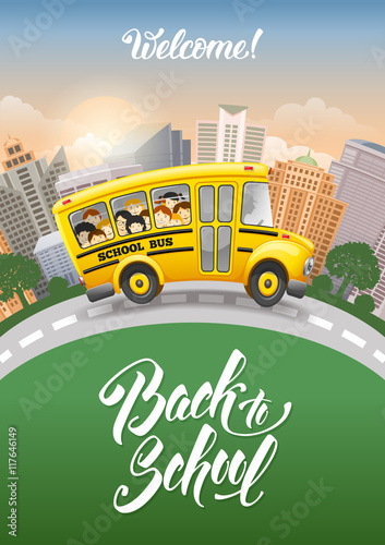Back To School Inscription And Cute Cartoon School Bus With Cheerful