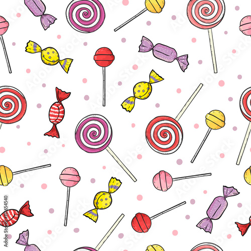 fototapeta na ścianę Colorful lollipop and candy seamless pattern. Vector sweets background.