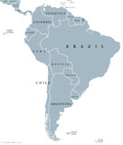 South America countries political map with national borders. Continent surrounded by Pacific and Atlantic Ocean. English labeling. Illustration. - 117658544