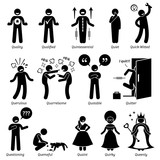 Positive Negative Neutral Personalities Character Traits. Stick Figures Man Icons. Starting with the Alphabet Q.