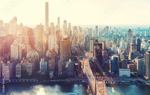 Fototapety, obrazy : Aerial view of the New York City skyline