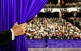 Hand opening stage curtain and audiance - 117686969