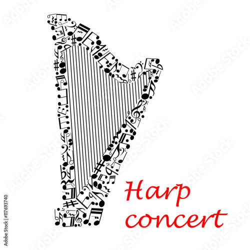 Fototapeta Musical poster design with harp and notes