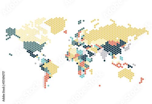 Dotted World map of hexagonal dots