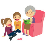 Illustration of kids listening their grandmother reading a story