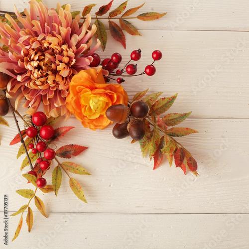 autumn flowers frame background