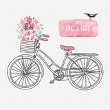 Hand drawn retro bicycle