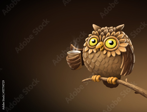 Foto op Aluminium Uilen cartoon Night owl with coffee. Illustration