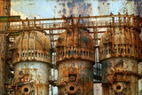 Rusty background with old steel furnace - 117716597