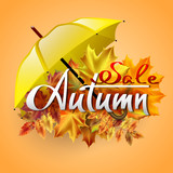 Autumn vector background with  leaves and yellow umbrella. Sale. Hand-written lettering. Typography.