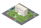 Isometric High Quality City Element with 45 Degrees Shadows on White Background. University.