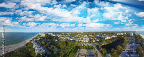 Papiers peints Naples Aerial panoramic view of Naples beach at dusk, Florida