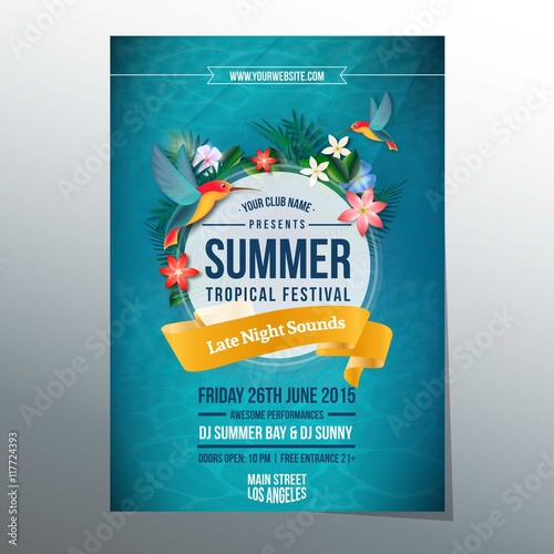 Summer tropical festival poster