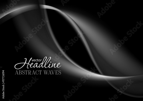 Zdjęcia na płótnie, fototapety, obrazy : Dark abstract monochrome smooth waves background