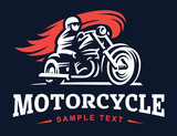 Fototapety Biker, fire, motorcycle, retro emblem and label