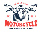 Motorcycle logo illustration. Vintage emblem