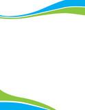 Blue Green Swirl Wave Letterhead Template - 117729381