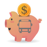 Isolated  piggy bank icin with  a bus icon
