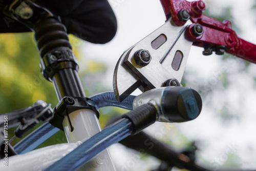 Poster Ein Dieb knackt mit einem Werkzeug ein Fahrradschloss