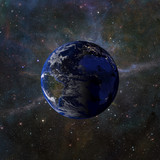 Solar system planet Earth on nebula background 3d rendering. Elements of this image furnished by NASA