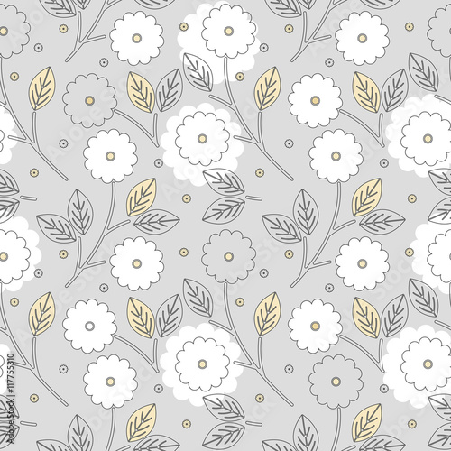 Fototapeta na wymiar Beautiful seamless pattern with flowers and leaves