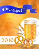 Oktoberfest vector illustration. Beer mug, pretzels and cereal e