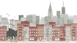 Fototapety New York City - seamless banner of New York's skyline, hand drawn and digitally colored ink illustration