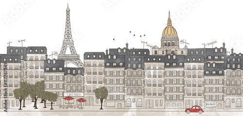 Paris, France - seamless banner of Paris's skyline, hand drawn and digitally colored ink illustration