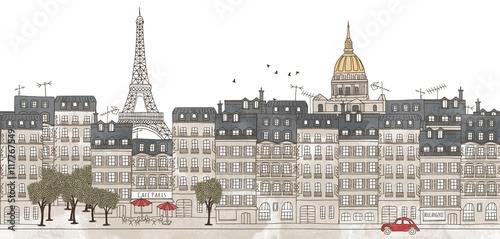 Fototapeta Paris, France - seamless banner of Paris's skyline, hand drawn and digitally colored ink illustration