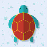 Sea animal cartoon design represented by tortoise icon. Colorfull and flat illustration.