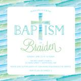 Baptism, Christening Invitation Card - Invite Template - Boy - Watercolor Cross