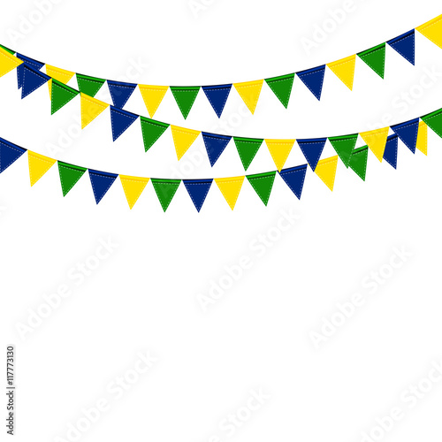 Poster Festive boxes of color flag of Brazil on White Background. Vecto