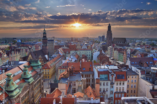 Fototapeta Wroclaw. Image of Wroclaw, Poland during summer sunset.