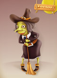 Witch cartoon character. Halloween vector 3d icon