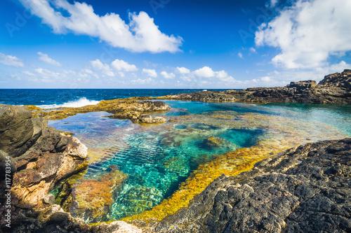 Deurstickers Canarische Eilanden Incredible natural pool at the coastside of lanzarote in nature. Lanzarote. Canary Islands. Spain