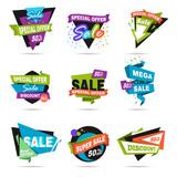 Super sale banner set. Paper cat design.