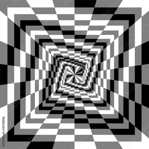 Vector Illustration. Monochrome Spirals of the Rectangles Expanding from the Center. Optical Illusion of Perspective. Suitable for Web Design.