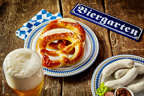 Food and beverage in a beer garden at Oktoberfest