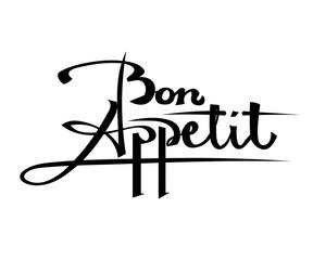 Bon Appetit Black lettering on a white background. Stock vector
