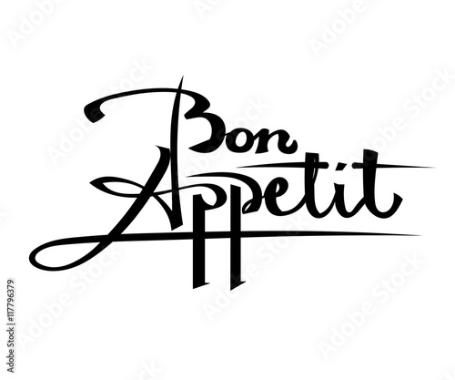 Bon Appetit Black lettering on a white background. Stock vector