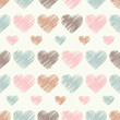 Seamless vector background with decorative hearts. Print. Cloth design, wallpaper.