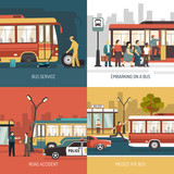 Bus Stop 4 Flat Icons Square