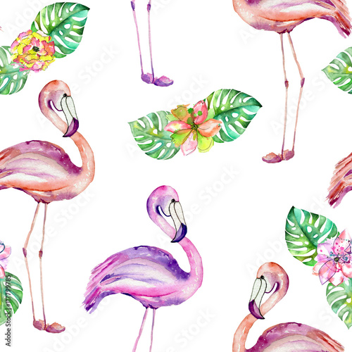 Seamless pattern with the flamingo and exotic flowers, hand painted in watercolor on a white background - 117799785
