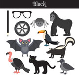 Fototapety Black. Learn the color. Education set. Illustration of primary c